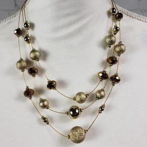 Three Strand Floating Gold Bead Choker Necklace